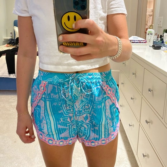 Rococo sand silk and beaded shorts